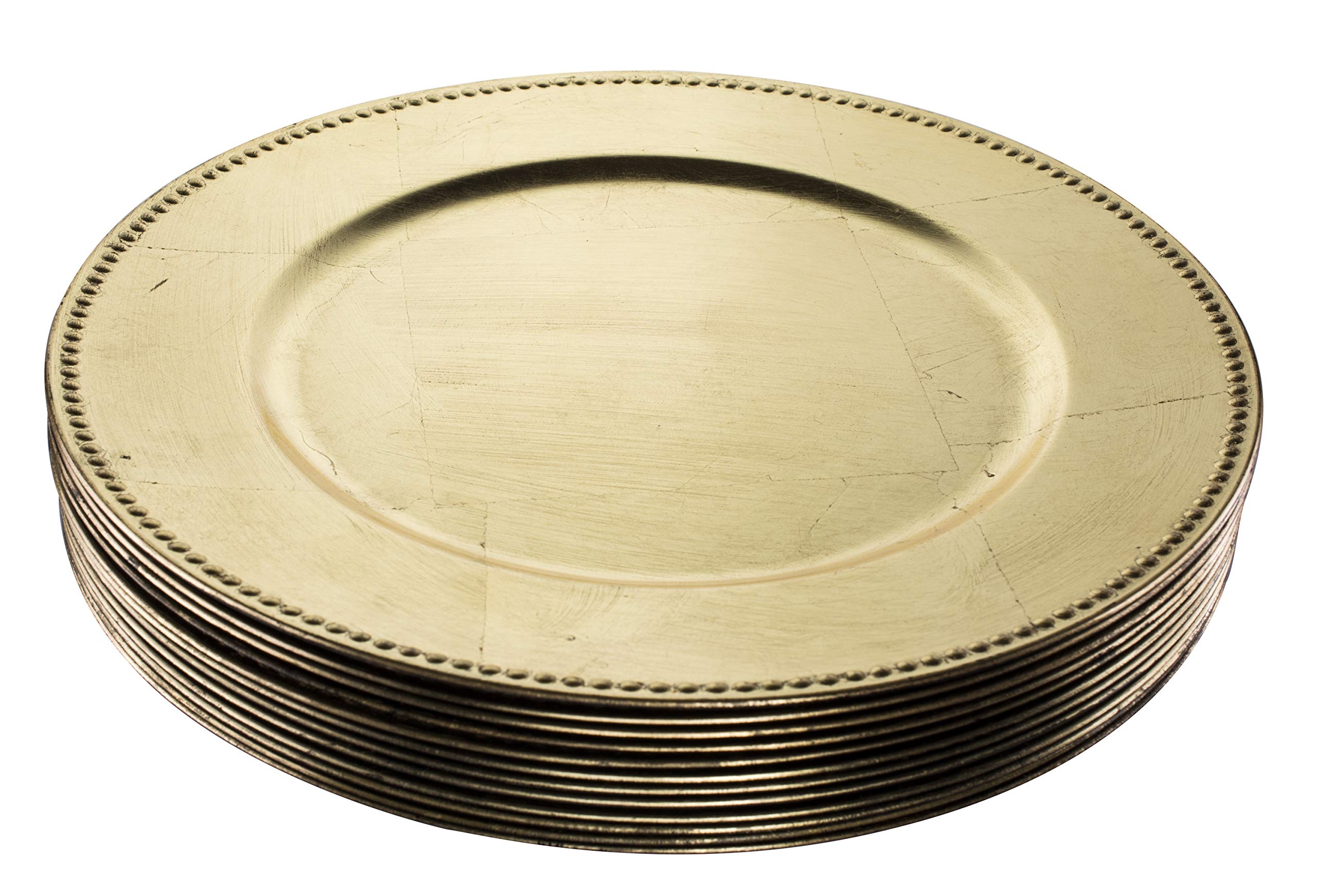 Simply Home USA 13'' Plate Charger Gold Beaded Round Premium Finest Quality, Pack Of 12