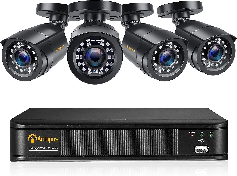 Anlapus 1080P Kit de Cámaras Seguridad 8CH H.265+ Videograbador DVR con 4 Cámara de Vigilancia Exterior, sin Disco Duro, Visión Nocturna, Alarma de Movimiento
