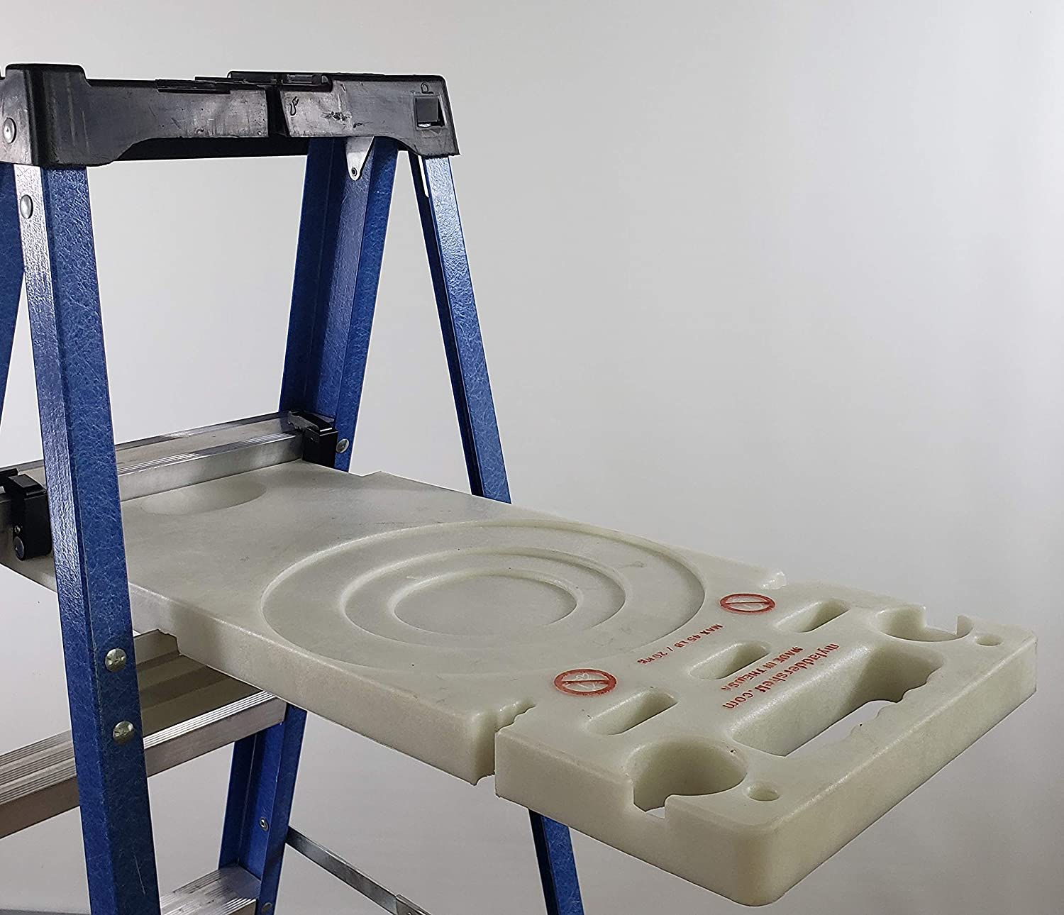 Ladder Shelf Systems -Heavy Duty -Multifunctional -Time saving - Professional Grade molded plastic pail shelf - attaches to most Warner, Louisville, and Keller brand single sided A-frame step ladders