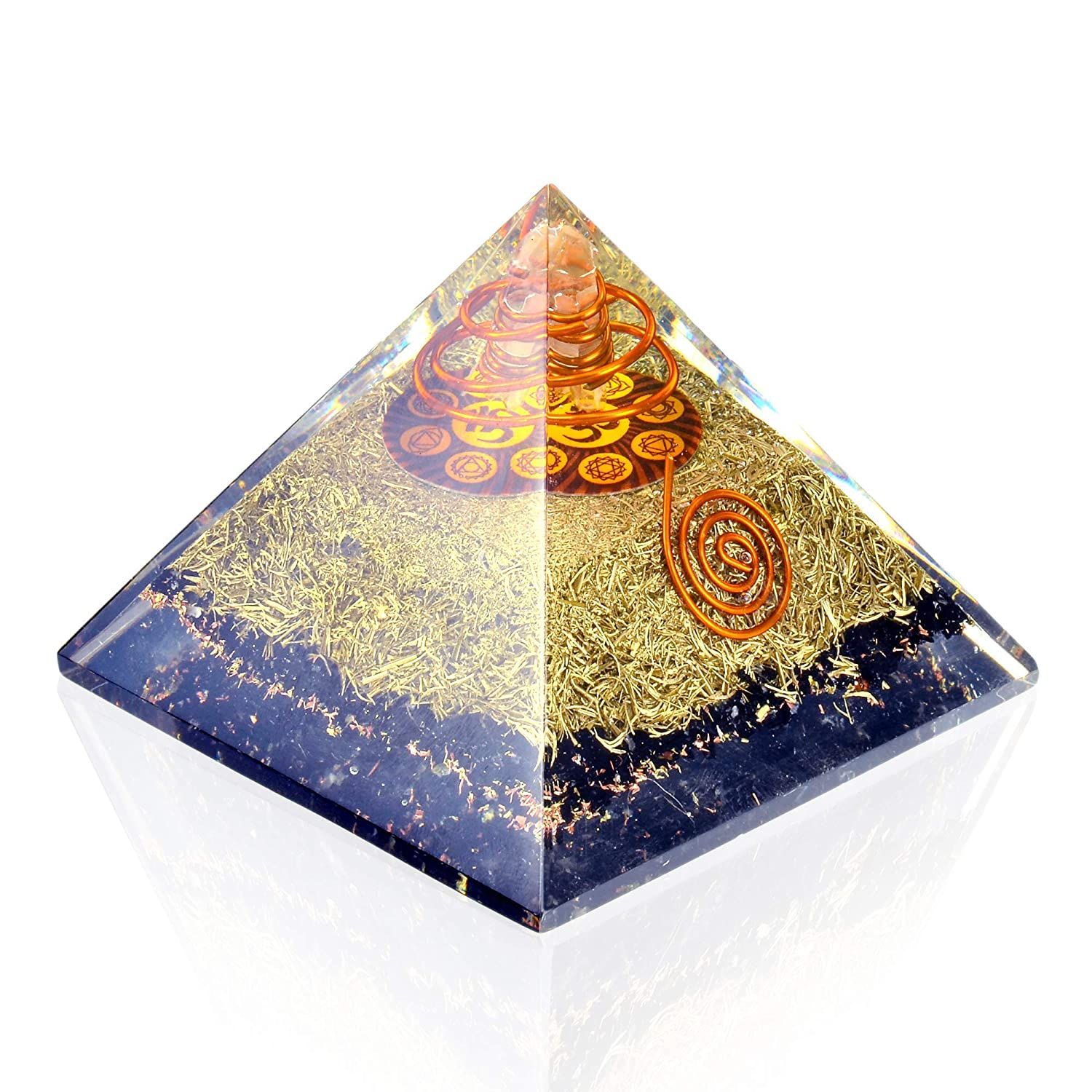 Orgone Pyramid Energy Generator - Chakra Om Symbol Orgonite Black  Tourmaline Crystal Pyramid with Brass Metal for EMF Protection - Chakra