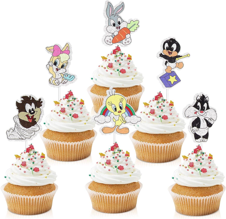 18pcs Cartoon Baby Birds Cupcake Toppers - Cartoon Party Glitter Bird Cupcake Supplies - Boys Girls Birthday Party Muffin Decoration Favors