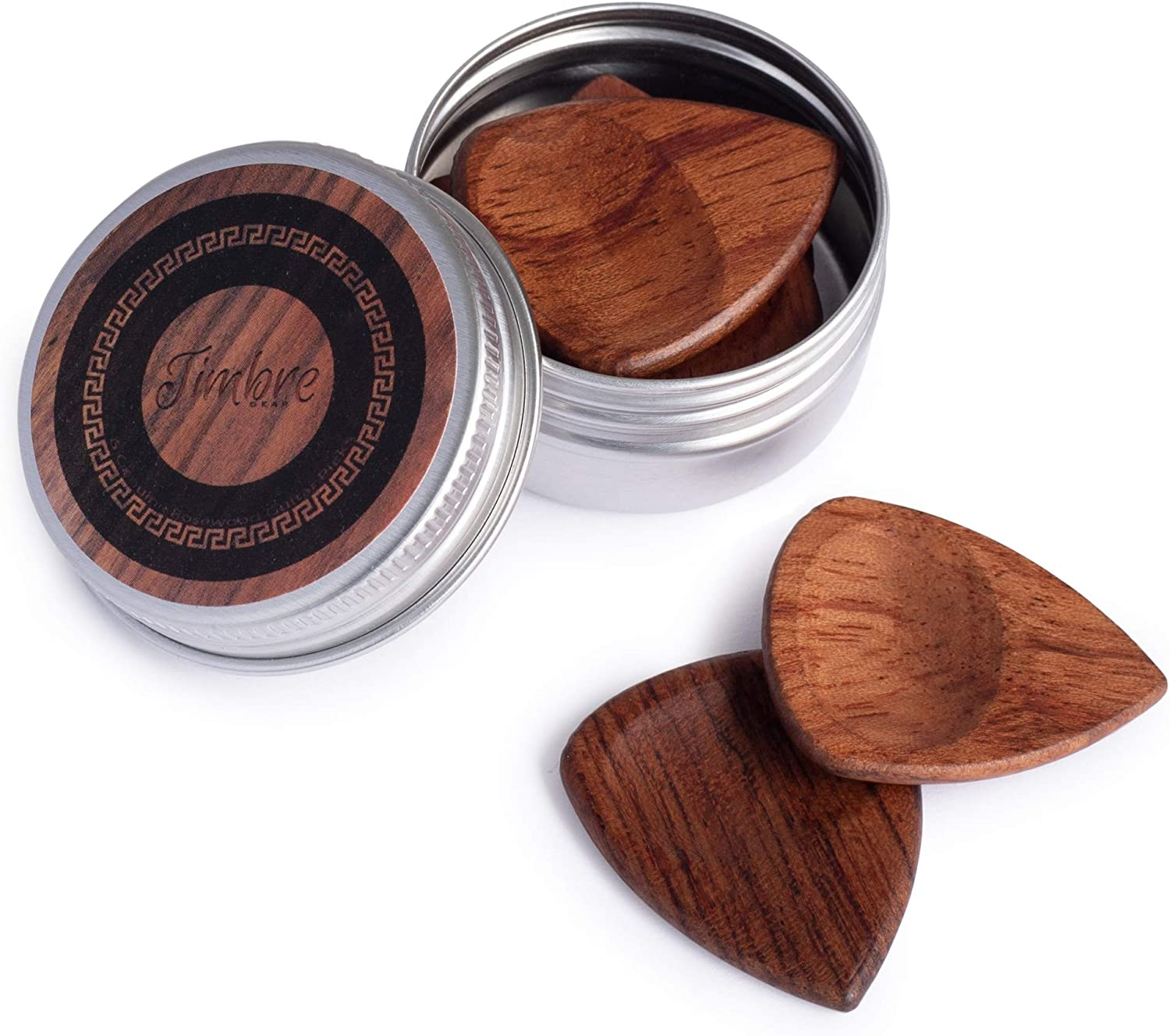 TimbreGear Genuine Rosewood Guitar Picks with ThumbGroove 6 Picks in A Guitar Pick Holder Best Gift Idea