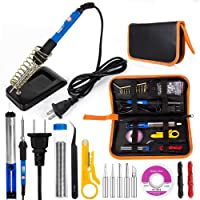 Soldering Iron Kit, EletecPro Electric Welding Tools Temperature Adjustable 60W 110V Soldering Set with 5 Iron Tips Kit, 6 Aid Tools, 2pcs Electronic Wire and Cleaning Sponge in PU Carry Bag