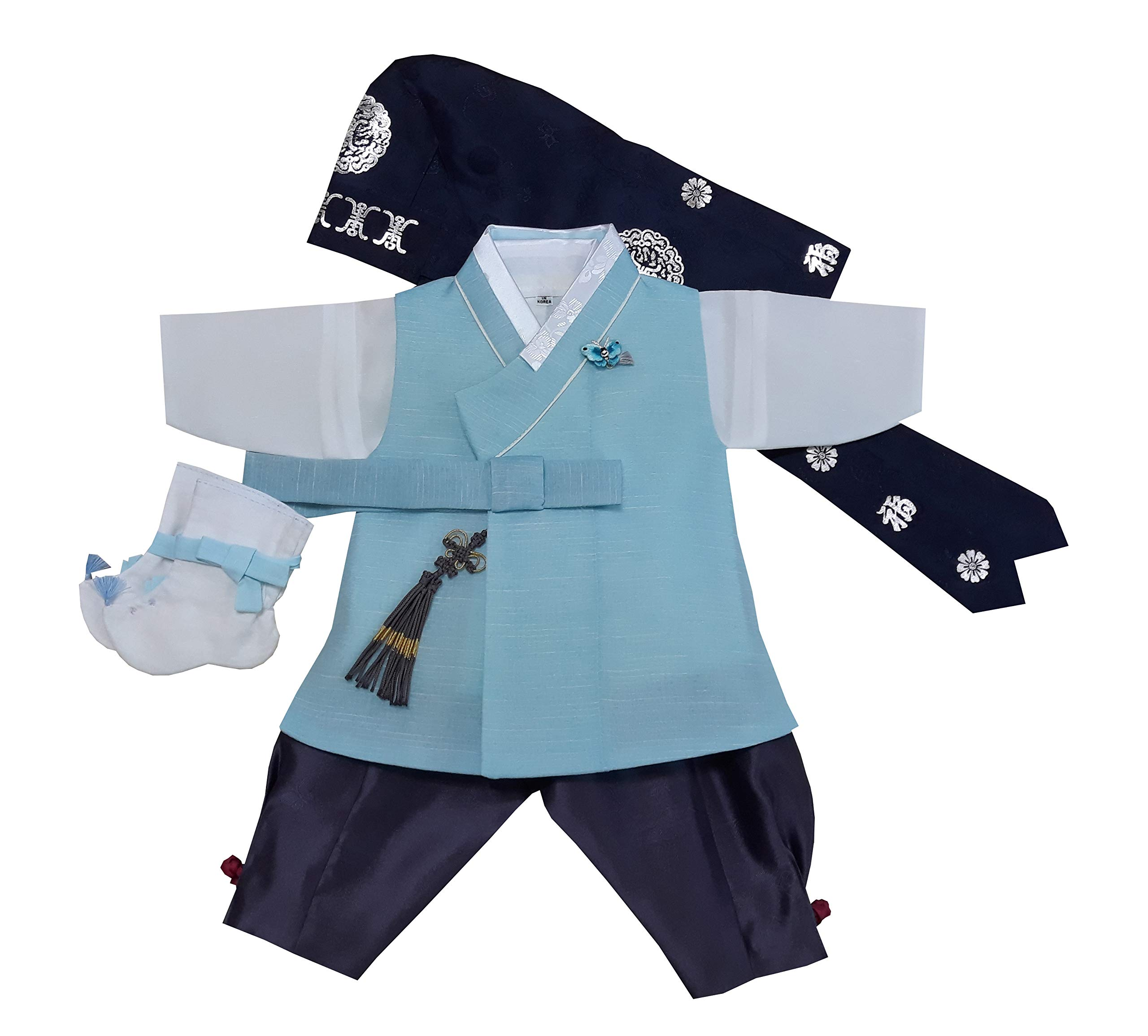 100 Day Birth Korea Baby Boy Hanbok Traditional Dress Outfits Celebration Party Light Blue Set by hanbok store