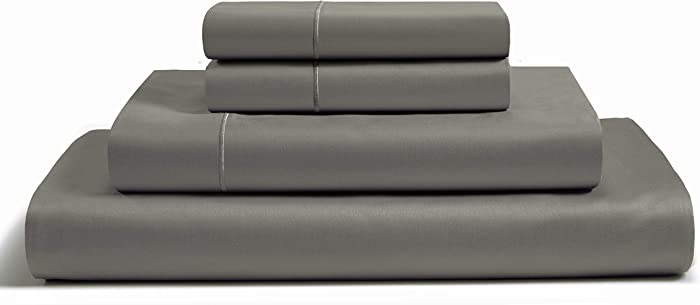 CHATEAU HOME COLLECTION 100% Egyptian Cotton Sheets Calking Size, 800 Thread Count Charcoal 4 Piece Sheet Set, Solid Sateen Weave, 16