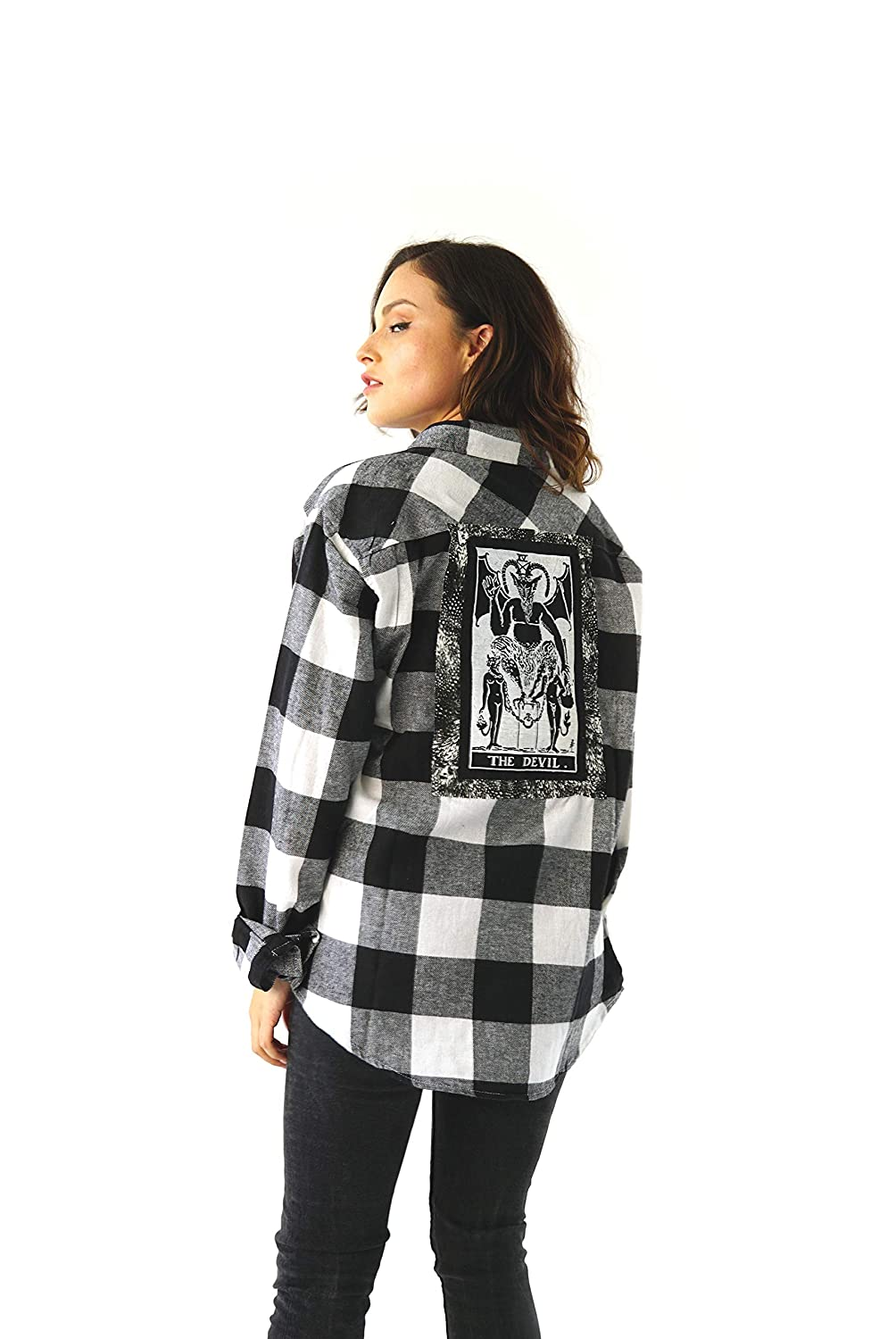 b796f4cc3a56cb Amazon.com: Unisex Sisters Of The Moon Black And White Devil Flannel:  Handmade