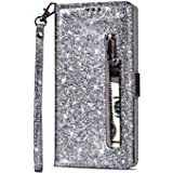 Jorisa Glitter Wallet Case Compatible with iPhone 7 Plus//iPhone 8 Plus,Bling Sparkle Ultra Thin Leather Flip Stand Cover with Card Slot Magnetic Closure Book Style Phone Case,Black