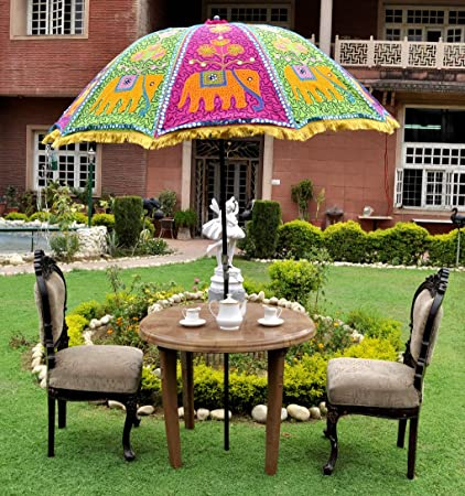 Lal Haveli Ethnic Handmade Embroidered Sun Shade Patio Umbrella Garden 52 x 72 inches