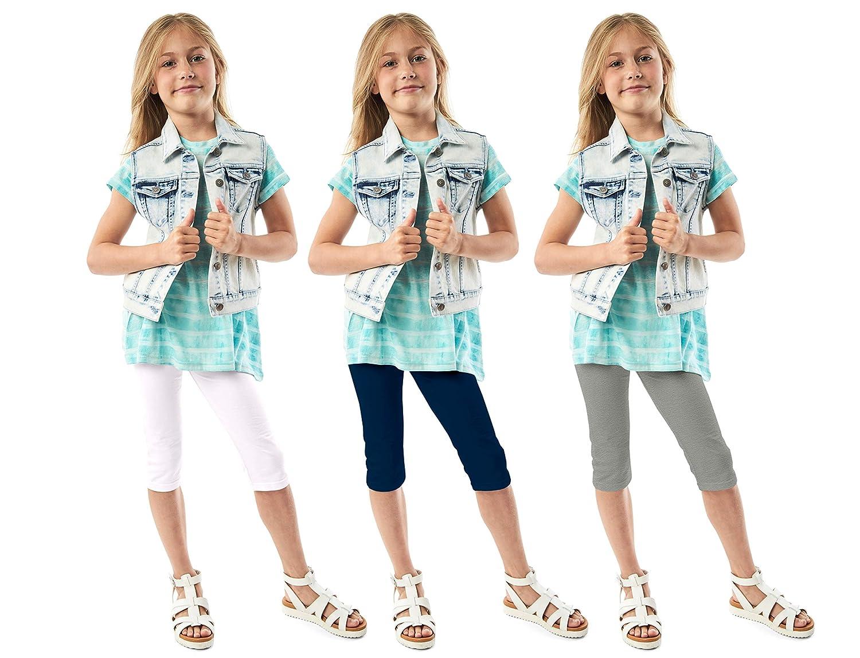 Multi-Color 3Pack KIDPIK Capri Leggings for Girls Soft Comfortable Casual Stretchy Cotton