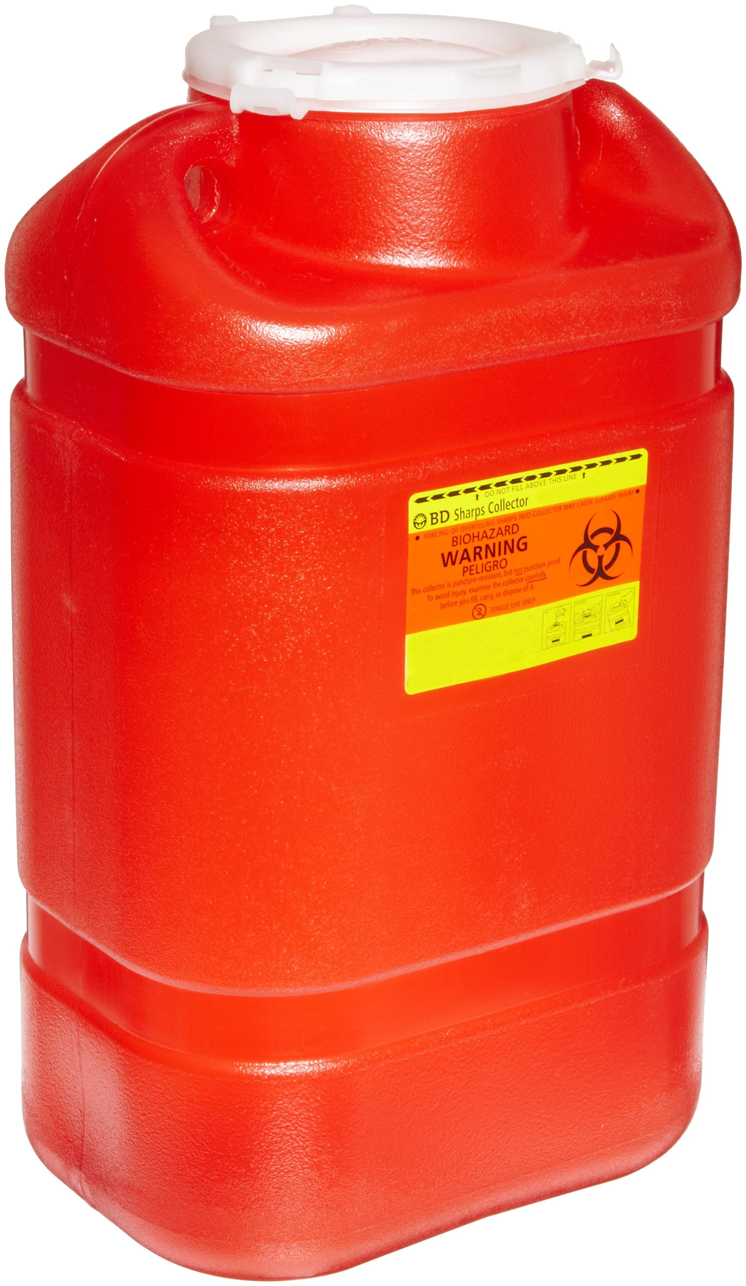 BD 305477 Multi-Use One-Piece Sharps Collector with Large Funnel, 10-1/2'' Width x 18'' Height x 7-1/2'' Depth, 5 Gallon Capacity, Red (Case of 8)