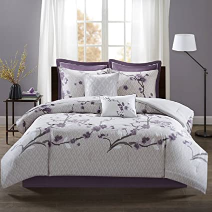 Amazon tl 8 piece purple white floral pattern comforter set tl 8 piece purple white floral pattern comforter set queen light purple flower design leaf mightylinksfo