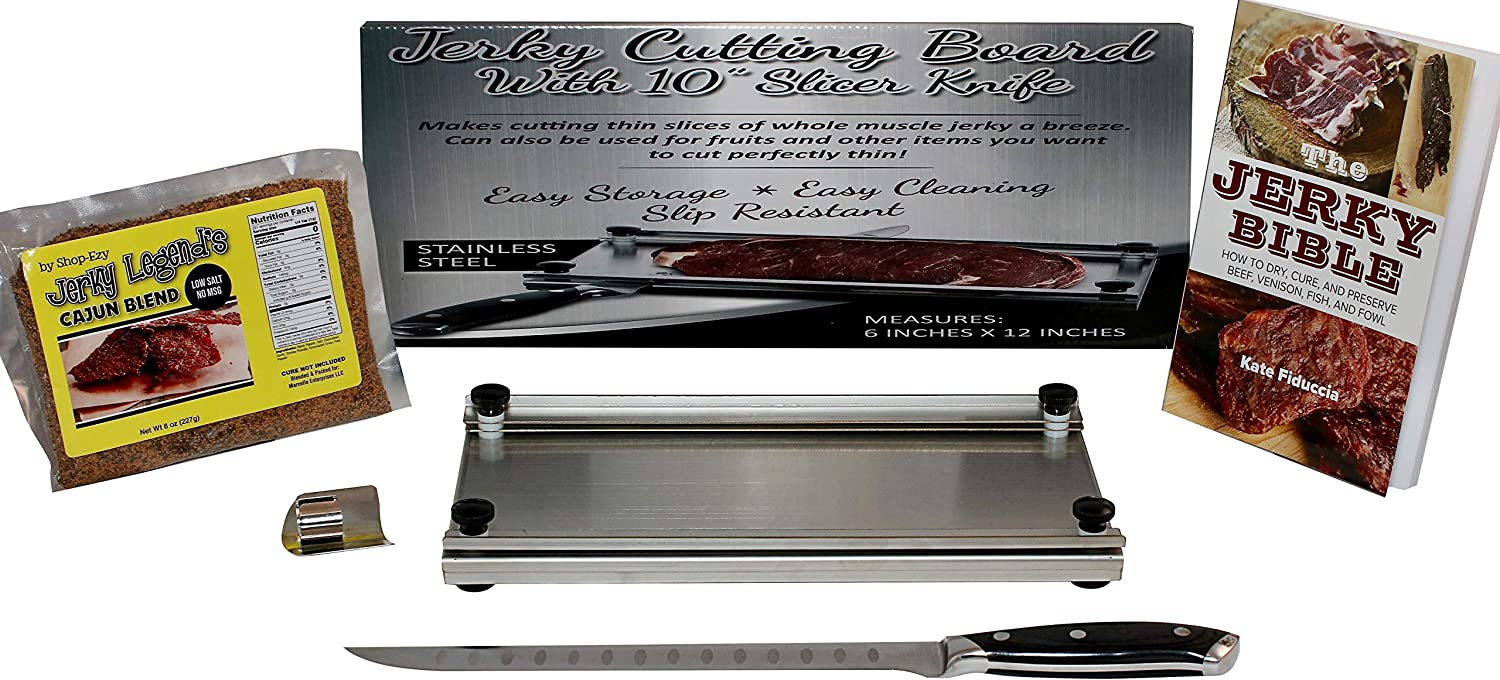 Jerky Maker Cutting Board With Professional Slicing and Carving Knife 8oz Pack of Seasoning and How to Book (1)