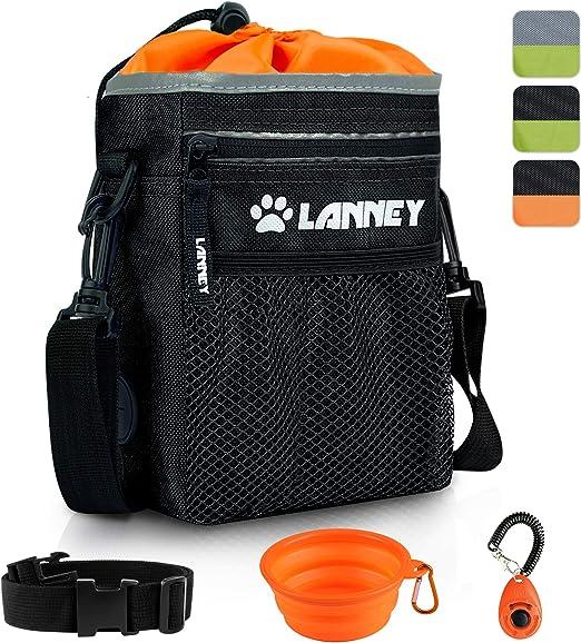 LANNEY Dog Treat Pouch Pet Training Bag for Small to Large Dogs, Treat Tote Carry Kibble Snacks Toys for Training Reward Walking, Metal Clip, Waist Belt, Shoulder Strap, Poop Bag Dispenser