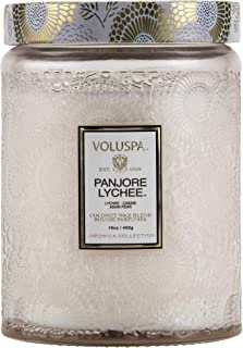 product image for Voluspa Panjore Lychee Large Embossed Glass Jar Candle, 16 Ounces