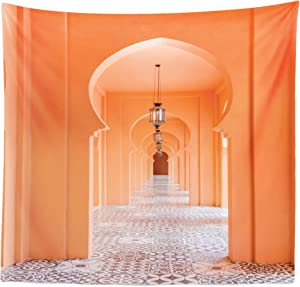 """Lunarable Orient Tapestry Queen Size, Moroccan Walkway with Motifs and Elements Visual Oriental Photo, Wall Hanging Bedspread Bed Cover Wall Decor, 88"""" X 88"""", Salmon"""