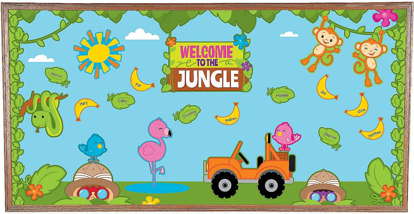 Fun Express Jungle Bulletin Board Set - 91 Pieces - Educational and Learning Activities for Kids