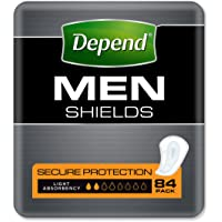 Depend Adult Care Incontinence Shields for Men, Light Absorbency (Pack of 84)