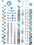 Temporary Flash Tattoos Metallic Silver Turquoise Gold Body Tattoo Art Holiday