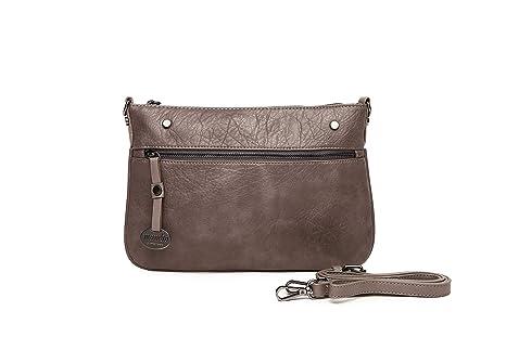 Bolsos mujer, bolso bandolera marrón imitación piel, bolsos ...
