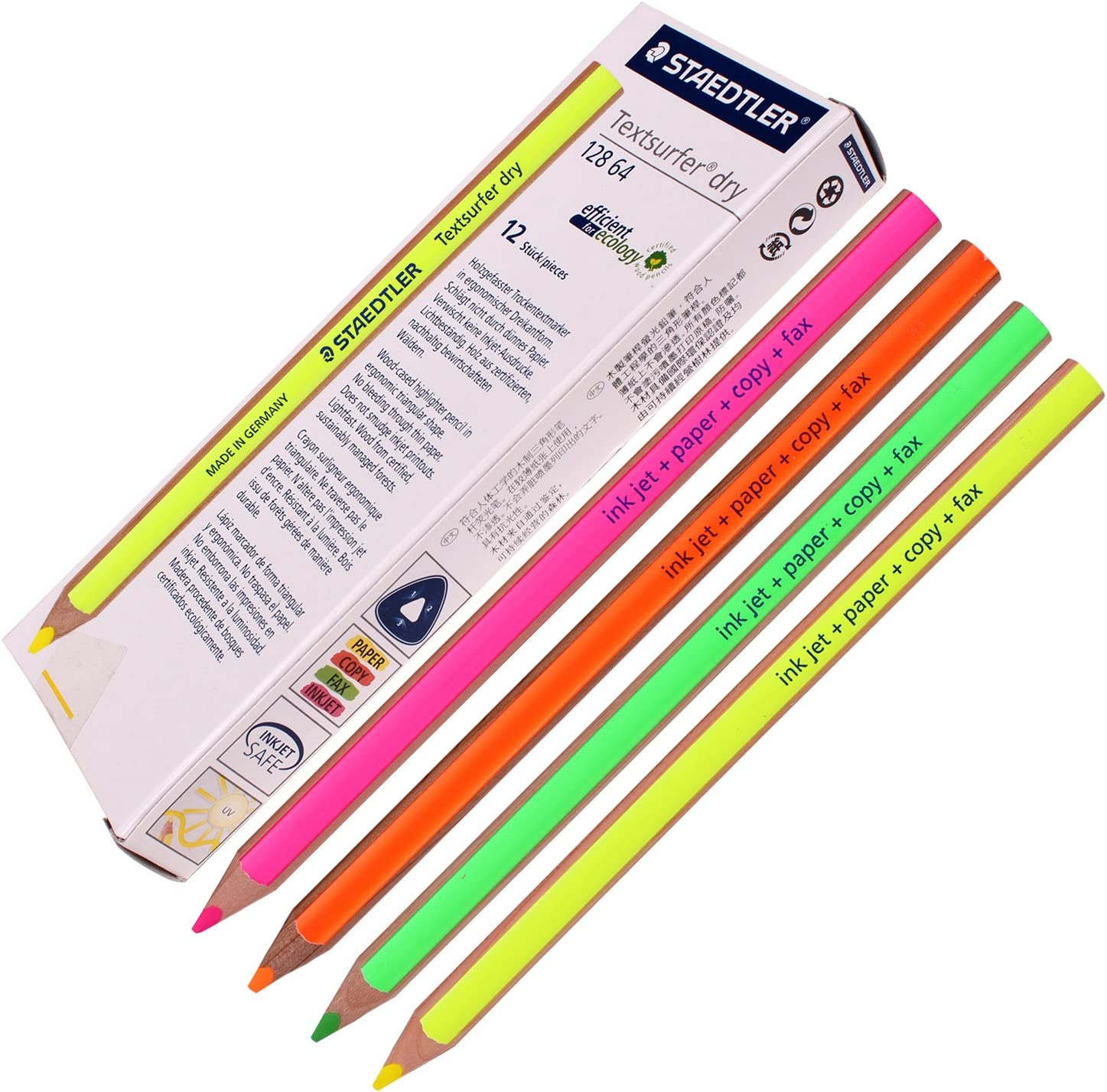 4pack Staedtler Textsurfer Dry Highlighter Pencil 128 64 Drawing Fluorcent 4mm