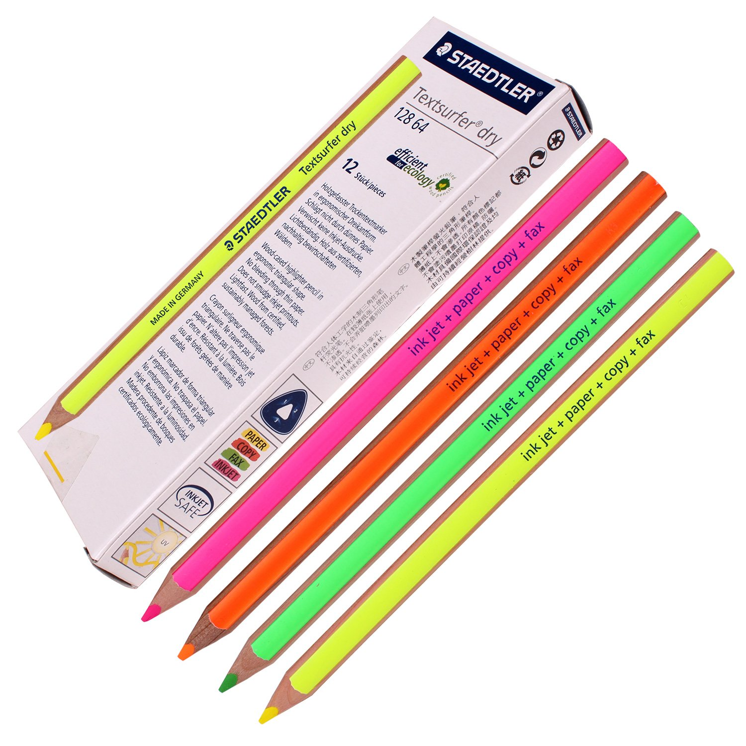 Staedtler Textsurfer Dry Highlighter Pencil 128 64-fn Drawing for Writing Sketching Inkjet, paper, copy, fax(pack of 12)color Mix 128-64-FN