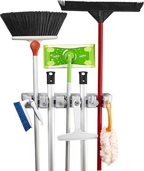 Amazon Com Spoga Wall Mounted Mop Broom And Sports Equipment Storage Organiser Home Kitchen