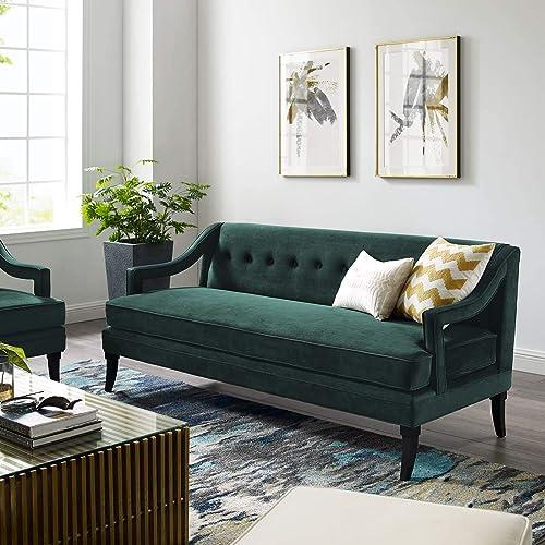 Modway Concur Mid-Century Modern Upholstered Velvet Sofa In Green