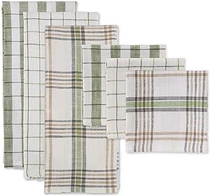 DII Fresh Herbs Collection, Dishtowel/Dishcloth Set, Green House Plaid 6 Piece