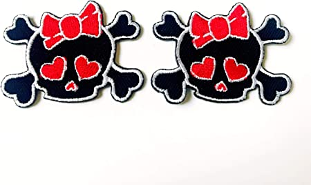 Set of 2 Skull With Bow Small Sew-on Patch Applique