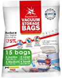 Vacuum Storage Bags - Pack of 15 (3 Jumbo + 4 Large + 4 Medium + 4 Small) ReUsable with free Hand Pump for travel packing. Sealer Bags for Clothes, Duvets, Pillows, Blankets, Curtains