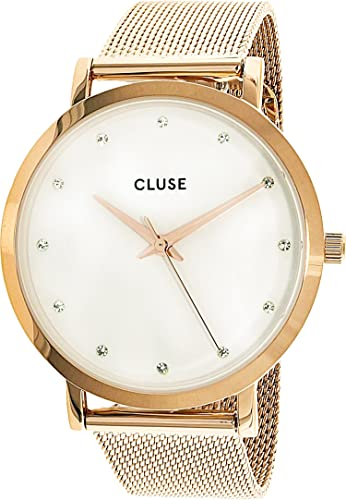 CLUSE Pavane Mesh Rose Gold/White Stones 38mm Horloge CL18303: Cluse: Amazon.es: Relojes