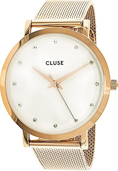 CLUSE Pavane Mesh Rose Gold/White Stones 38mm Horloge CL18303: Cluse: Amazon.es: Relojes
