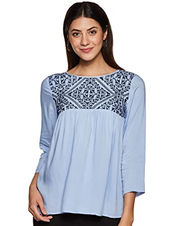b41d0f0edfd THE VANCA Women's Light Blue Flare top with Embroidery: Amazon.in ...