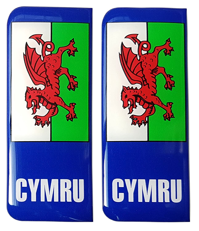 Wales Number Plate Sticker Decal Badge Cymru Welsh Flag 3d Resin Gel Domed Acuflow
