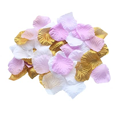 Image Unavailable. Image not available for. Color  CheckMineOut Set of 600  Gold Lavender White Silk Rose Petals Artificial Flowers Wedding Centerpieces  ... 8d170e3300cf
