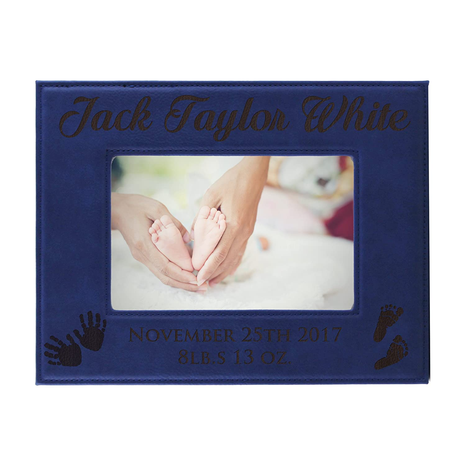 Personalized New Baby Photo Frame Monogrammed for Free 5 x 7 Custom Engraved Boy Girl Picture Frame Gift