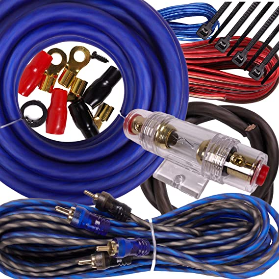 Gravity BGR-KIT4-B-PK2-2000W-4CH Complete 2000W 4 Gauge Amplifier Wiring Kit Amp PK2 4 Ga Blue-for Installer and DIY Hobbyist-Perfect for Car/Truck/Motorcycle/RV/ATV