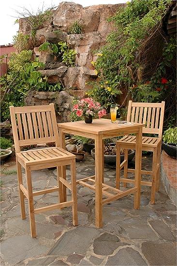Anderson Teak Avalon - Juego de mesa de bar cuadrada y silla de bar de 27 pulgadas: Amazon.es: Jardín