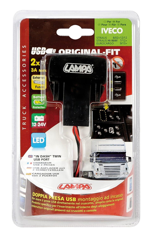 Doppia Presa USB Lampa 97961 Original-Fit 12//24V-Iveco