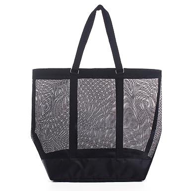 3062f0fe6 Extra-large Mesh Beach Bag Tote, Modern Beach Bag,Black