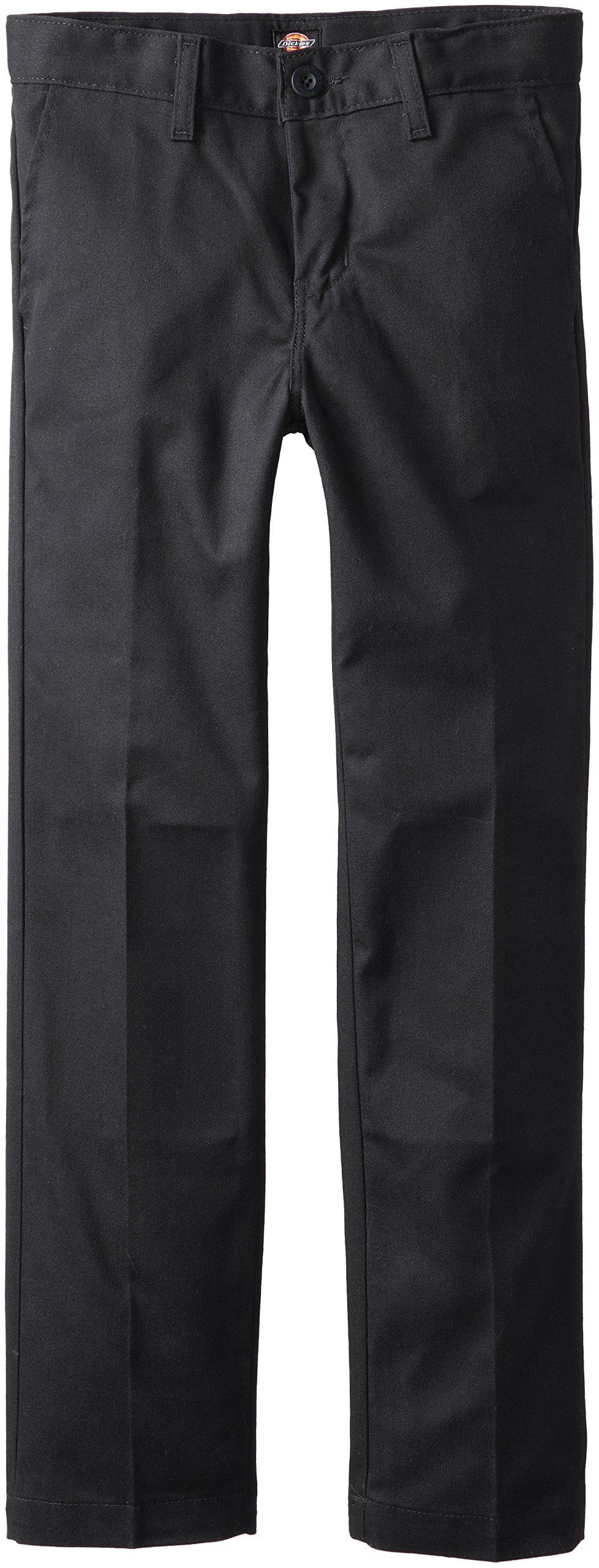 Dickies Khaki Big Boys' Flex Waist Slim Stretch Pant, Black, 10