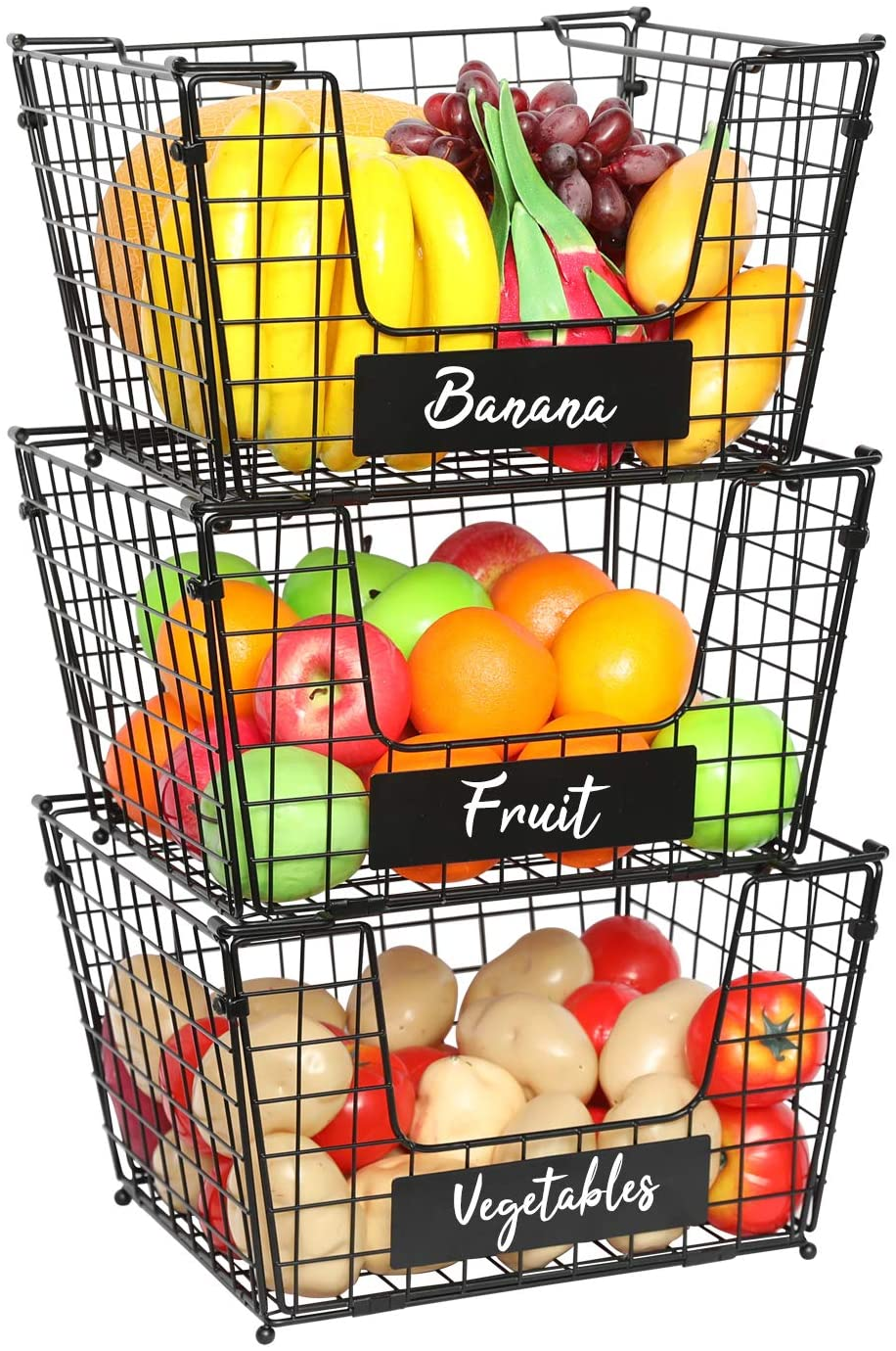 X-cosrack 3 Tier Foldable Wire Basket Stackable Fruit Vegetable Storage Basket with Name Plate Standing Metal Mesh Bin Organizer for Kitchen Counter Pantry Cabinet 14.1''L x 12.5''W x 23.6''H