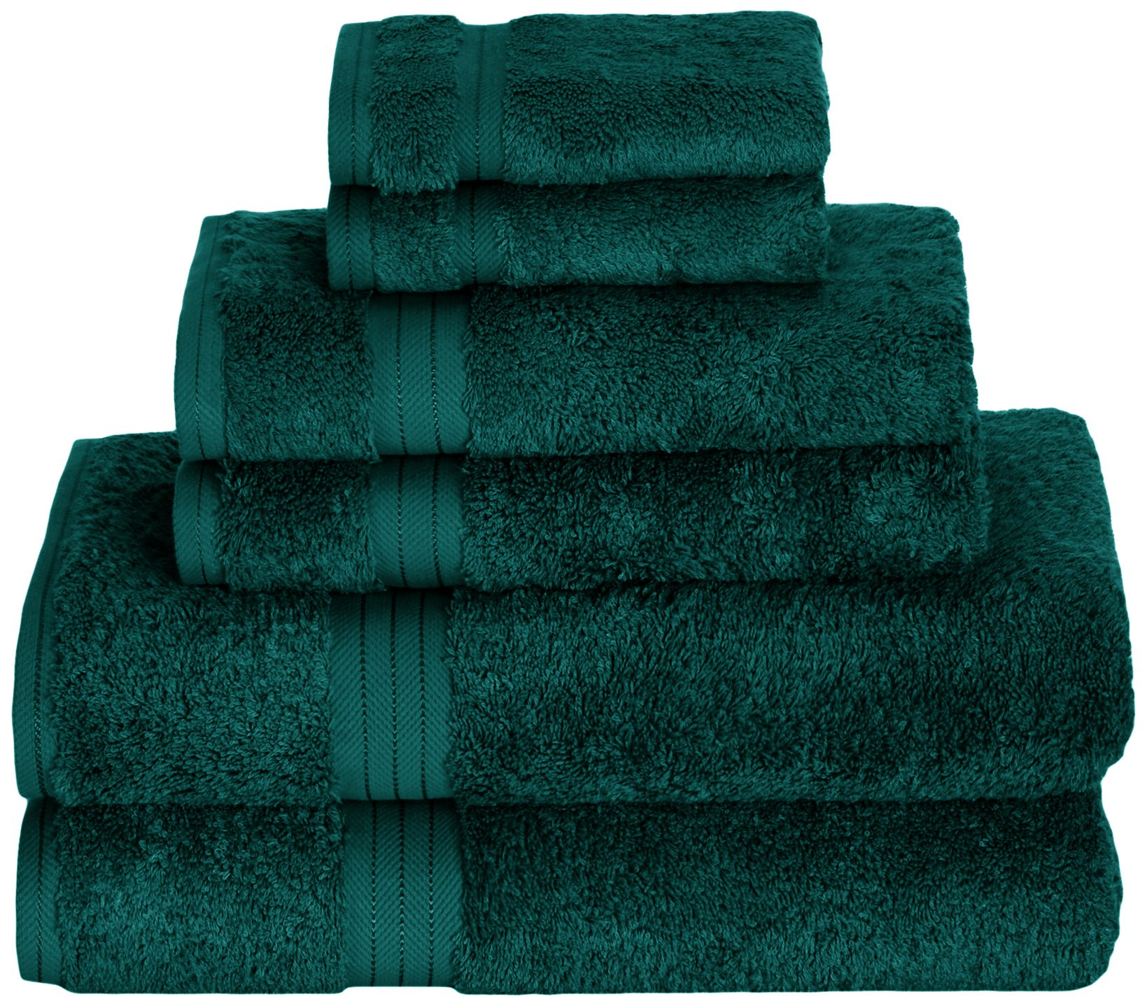 Daisy House Bamboo Towel Set (2 Bath, 2 Hand & 2 wash), Deep Teal