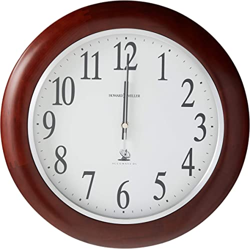 Howard Miller Murrow Wall Clock 625-259 Modern Round with Atomic, Radio Control Movement