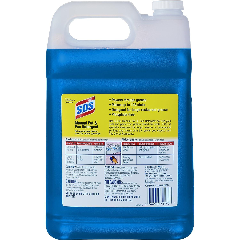 S.O.S Manual Pot and Pan Detergent Liquid, 128 Ounces (31742): Amazon.com: Industrial & Scientific
