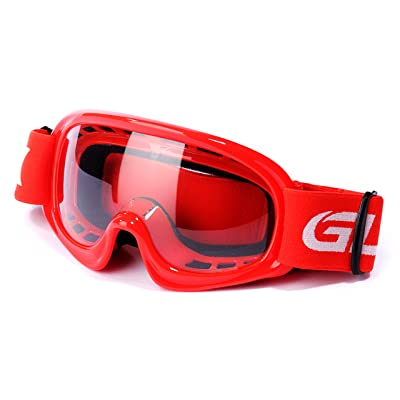GLX GX08 youth & kids Motocross/ATV/Dirt Bike/Airsoft Safety Goggles, ANSI Z87.1 Certified (Red) - Anti-Fog, UV Protection, Shatter-Proof: Automotive