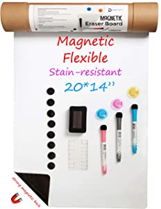 Fridge Whiteboard, Magnetic Dry Erase White Board for Refrigerator,Large Size 20 x 14 Inches, with Stain Resistant Technology, Incl. 3 Markers, 1 Eraser, 3 Magnets, 8 Hook and Loop Dots by DAZZY DOT
