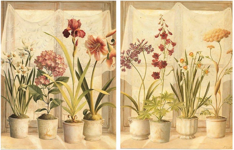 Dcine 2016 Cuadro de Flores, Tonos cremas. Set de 2 Cuadros de Madera de 19x25 cm Cada Cuadro