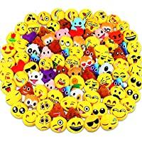 Emoji Party Favors, Dreampark Emoji Keychain 100 Pack Mini Plush Carnival Prizes for Kids Halloween Birthday Party…