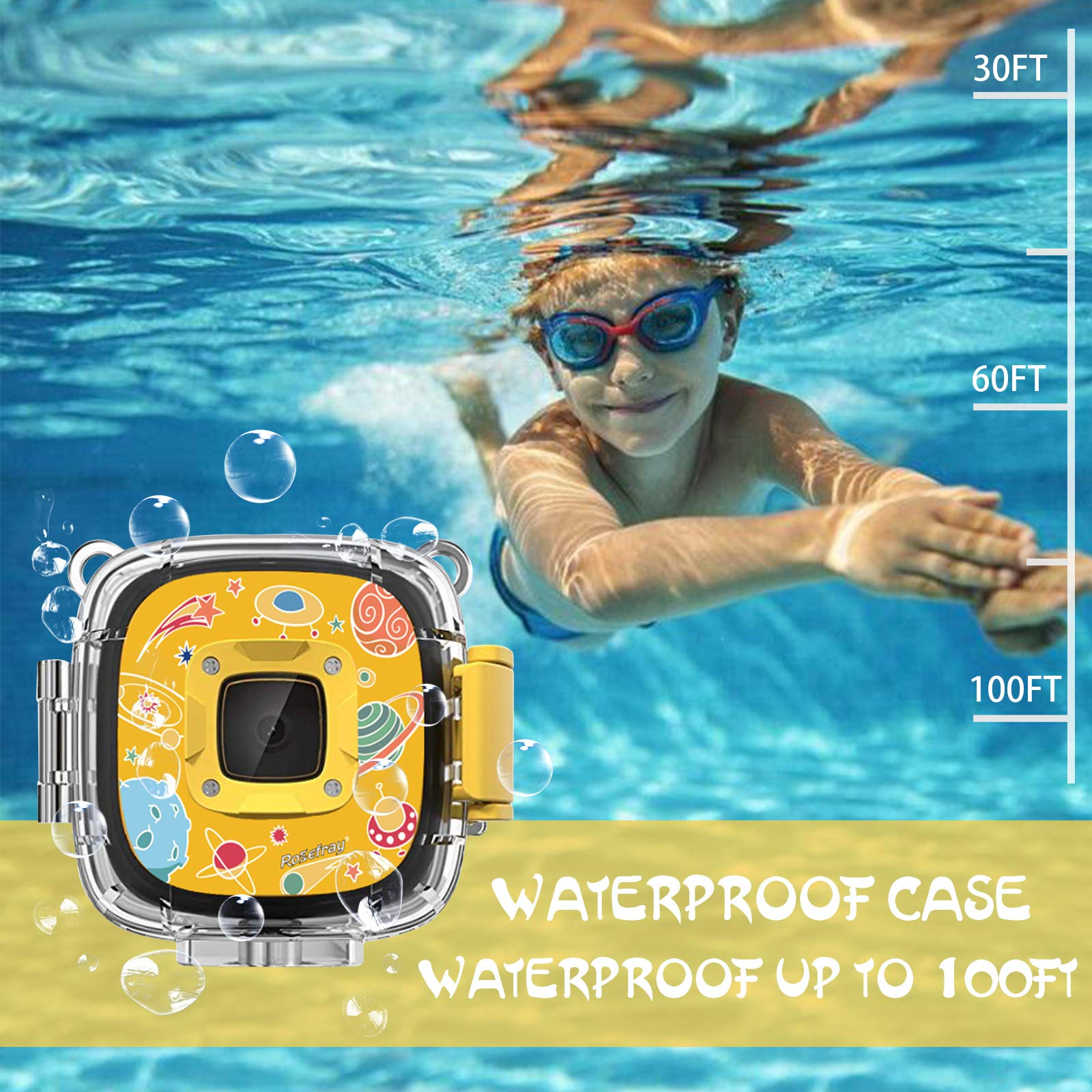 Rosefray Kids Camera,1080P HD Kids Action Camera, Sports Kids Digital Cameras for Boys and Girls, 16GB SD Card, Yellow by Rosefray (Image #2)